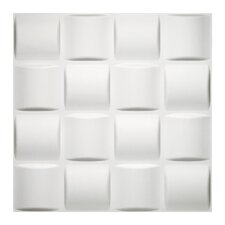 "Donny Osmond Home 19.6"" x 19.6"" Biodegradable 3D Basket Self Adhesive Wall Tile Weave in Off White"