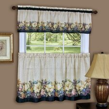 Antique Floral Rod Pocket Tailored Valance and Tier Set