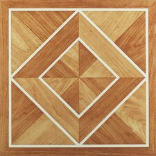 "Nexus 12"" x 12"" Vinyl Tile in White Border Classic Inlaid Parquet"