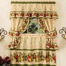 Apple Orchard Cottage Rod Pocket Ruffled Valance and Tier Set