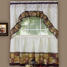 Coffee Rod Pocket Swag Valance and Tier Set