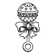 Mounted Rubber Baby Rattle Stamp