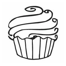 Mounted Rubber Cupcake Mini Stamp