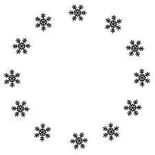 Mounted Rubber Snowflake Circle Stamp