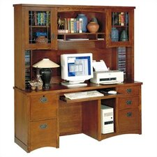 California Bungalow Computer Credenza with Hutch