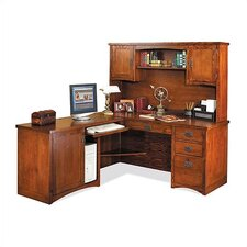 Mission Pasadena L-Shape Executive Desk with Hutch