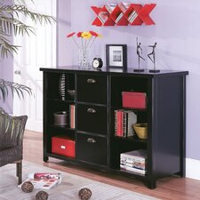 "Tribeca Loft 41"" H Black Three-Drawer File/Bookcase"
