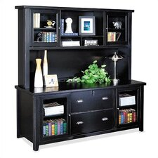 Tribeca Loft Midnight Smoke Black Storage Credenza and Hutch