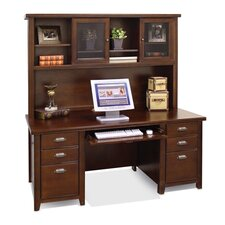 Tribeca Loft Cherry Executive Computer Desk and Hutch