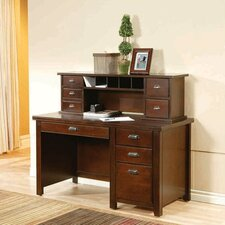 Tribeca Loft Cherry Single Pedestal Computer Desk and Reception Hutch Set