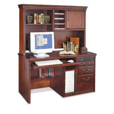 Huntington Club Single Pedestal Computer Desk and Hutch
