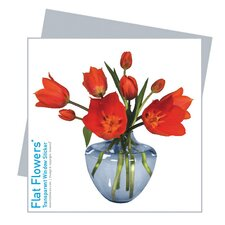 Flat Flowers Greetings in Tulip Blue Vase (Set of 6)