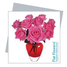 Flat Flowers Greetings in Roses Heart