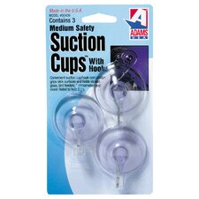 Wall Mounted Suction Cup with Metal Hook (Set of 3)