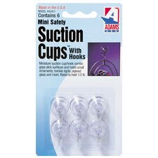 "0.75"" Clear Suction Cup with Metal Hook (Set of 6)"