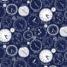 <strong>Loboloup</strong> World Clocks Flocked Wallpaper