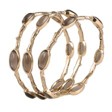 Enchanted 3 Piece Smoky Quartz Bangle Bracelet Set