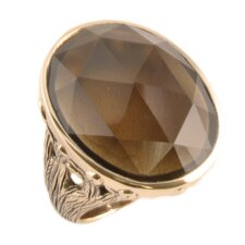 Enchanted Bronze Oval Cut Smoky Quartz Ring