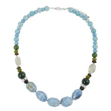 Statement Metal Amazonite /  Quartz / Jade Nugget Necklace