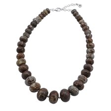Statement Sterling Single Strand Jasper Necklace