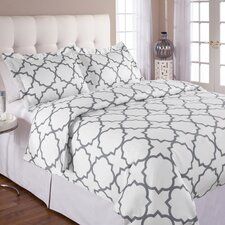 <strong>Echelon Home</strong> Quatrefoil Duvet Cover Set