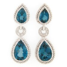 London Topaz and Diamond Dangle Earrings