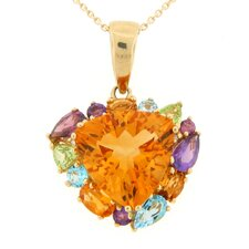 Citrine, Multi Gemstone and Diamond Accents Pendant