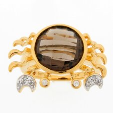 Sterling Silver Round Smoky Topaz Crab Ring