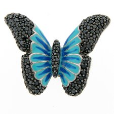 Sterling Silver Round Enamel Cubic Zirconia Butterfly Ring