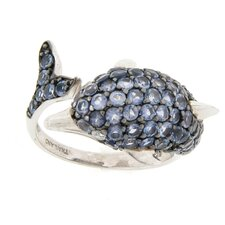 Sterling Silver Round Zircon and Iolite Dolphin Wrap Ring