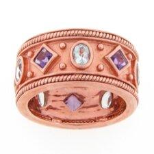 Sterling Silver Amethyst and Aqua Byzantine Band Ring