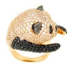 Vermeil Sterling Silver Round Spinel and Topaz Panda Ring