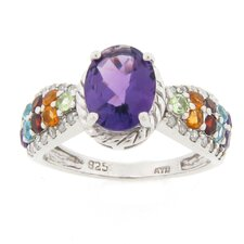Sterling Silver Amethyst and Multi Gemstone Ring