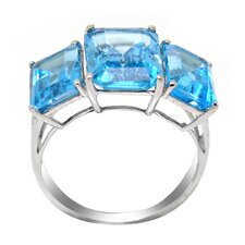 Genuine White Gold Emerald Cut Blue Topaz Ring
