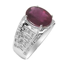 Genuine White Gold Oval Cut Ruby Ring