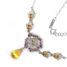 Genuine White Gold Citrine Pendant Necklace