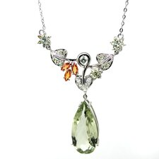 Genuine White Gold Green Quartz Pendant Necklace
