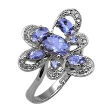 Genuine White Gold Oval Cut Tanzanite Ring