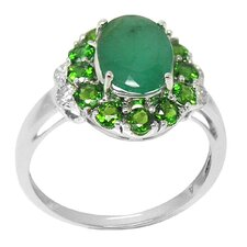 White Gold Oval Cut Emerald Ring