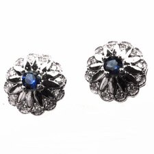 <strong>DeBuman</strong> Round Cut Sapphire and Cubic Zirconia Stud Earrings