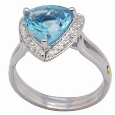 18K Gold and Silver Pear Cut Topaz and Cubic Zirconia Ring