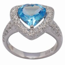 18K Gold and Silver Heart Cut Topaz and Cubic Zirconia Ring