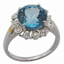 18K Gold and Silver Round Cut Topaz and Cubic Zirconia Ring
