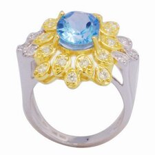 <strong>DeBuman</strong> 18K Gold and Silver Oval Cut Sapphire and Cubic Zirconia Ring