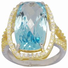 18K and Silver Gold Emerald Cut Topaz and Cubic Zirconia Ring