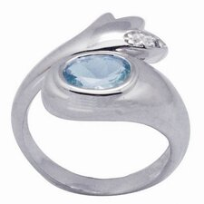 Sterling Silver Oval Cut Gemstone and Topaz Ring