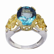 18K Gold and Sterling Silver Oval Swiss Topaz and Round Zircon Ring