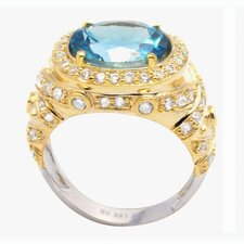 <strong>DeBuman</strong> 18K Gold and Sterling Silver Oval Swiss Topaz and Zircon Ring