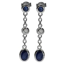 Sapphire and Zircon Solid Earring
