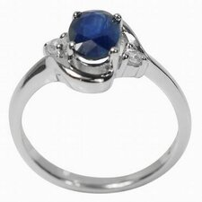 925 Silver Oval Sapphire and Zircon Solid Ring